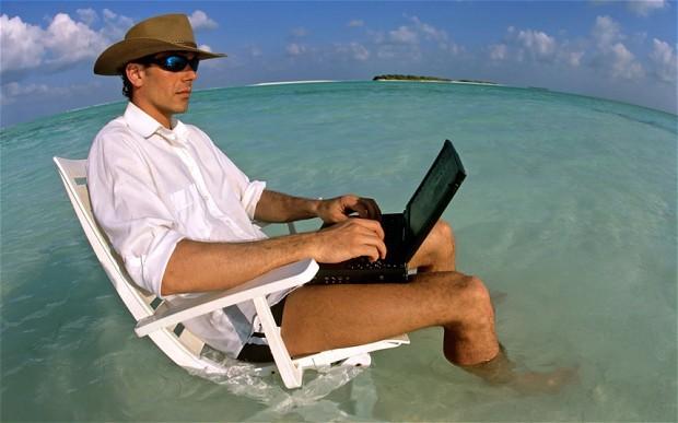 chef d'entreprise en vacances